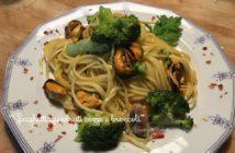Spaghetti quadrati cozze e broccoli